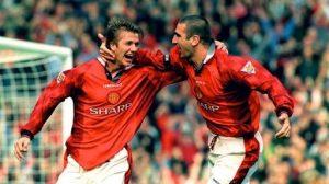 Manchester United banyak melahirkan bintang sepak bola dunia. Foto: David Beckham dan Eric Cantona.